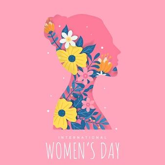 Dia internacional da mulher. desenho floral colorido