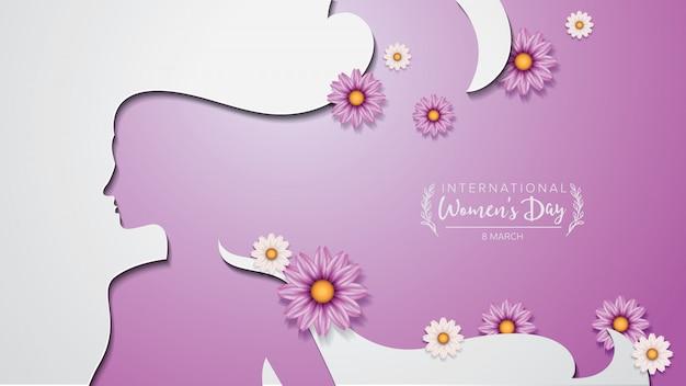 Dia internacional da mulher estilo de recorte de papel de cartaz e decoração de algumas flores.