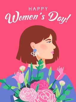 Dia internacional da mulher. feliz dia das mulheres, 8 de março. modelo de cartão com retrato de perfil de mulher. menina segurando um buquê. cartão postal ou pôster para as férias de primavera. .