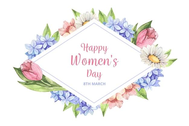 Dia internacional da mulher floral em aquarela