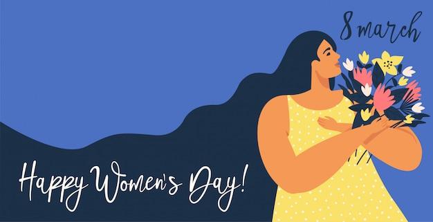 Dia internacional da mulher. modelos para cartão, banner, cartaz, flyer e outros usuários.