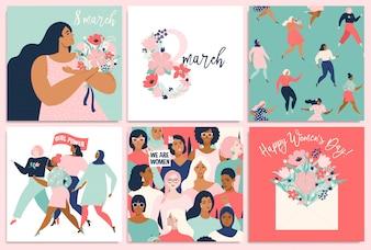 Dia Internacional da Mulher. modelos para cartão, cartaz, flyer e outros usuários.
