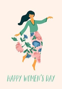 Dia internacional da mulher. mulher dançando e flores para cartão, pôster, folheto e outros usuários