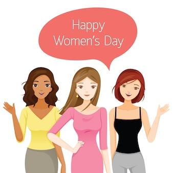 Dia internacional da mulher, mulheres com várias nações e pele