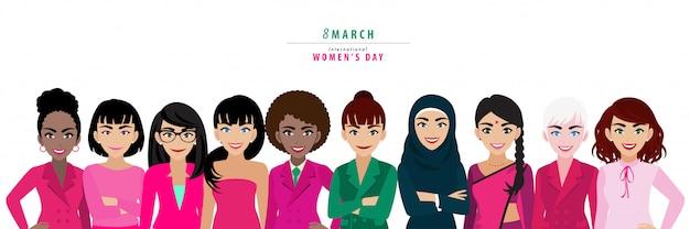 Dia internacional da mulher. nacionalidade diferente.