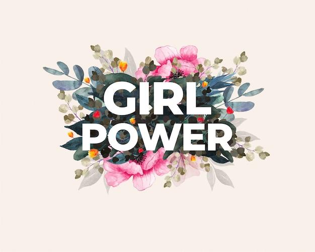 Dia internacional da mulher. poder feminino. desenho floral.