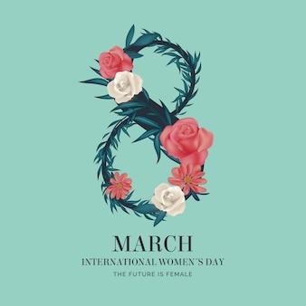 Dia internacional da mulher realista 8 de março com flores