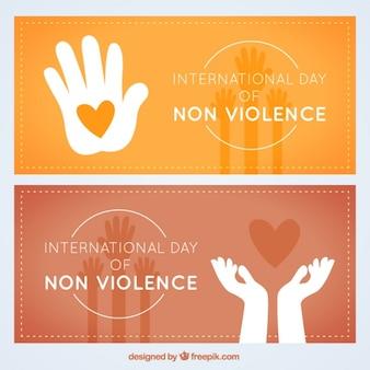 Dia internacional da não-violência bandeira bloco
