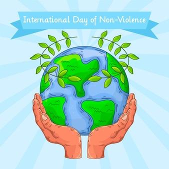 Dia internacional da não violência desenhado à mão