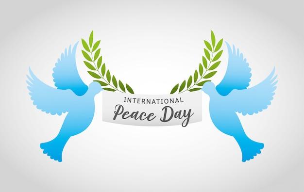 Dia internacional da paz com desenho de pomba