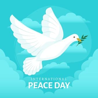 Dia internacional da paz com pomba e folhas
