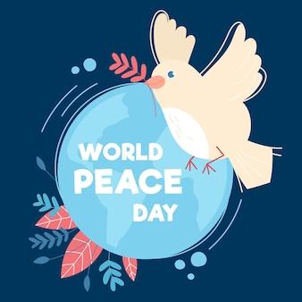 Dia internacional da paz com pomba e terra