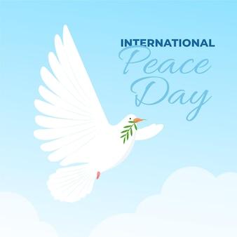 Dia internacional da paz com pomba no céu