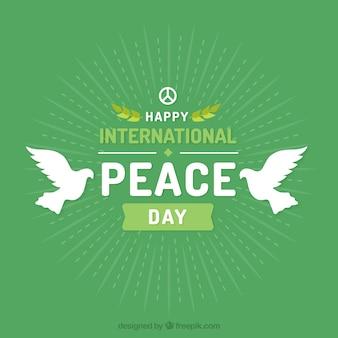 Dia internacional da paz com pombas brancas