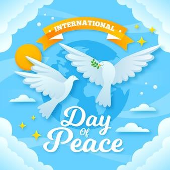 Dia internacional da paz com pombas e terra