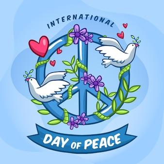 Dia internacional da paz desenhado à mão
