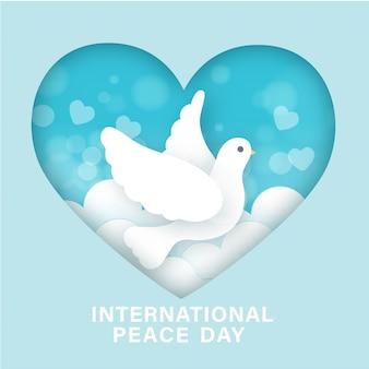 Dia internacional da paz em estilo de corte de papel.