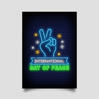 Dia internacional da paz estilo de sinal de néon