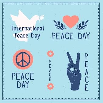 Dia internacional da paz rótulos desenhar tema