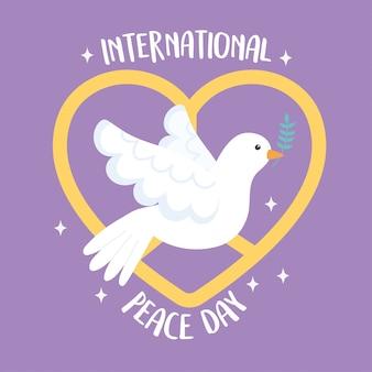 Dia internacional da paz voando pomba com ramo em ilustração vetorial de emblema de bico