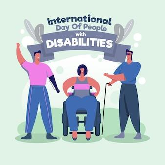 Dia internacional da pessoa com deficiência desenhado à mão