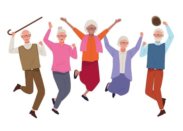Dia internacional da pessoa idosa com idosos pulando comemorando