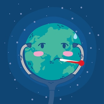 Dia internacional da saúde, com o planeta terra usando estetoscópio e termômetro