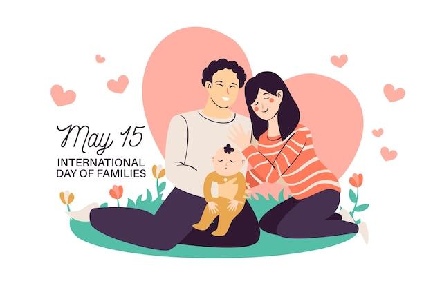 Dia internacional das famílias com pais e bebê