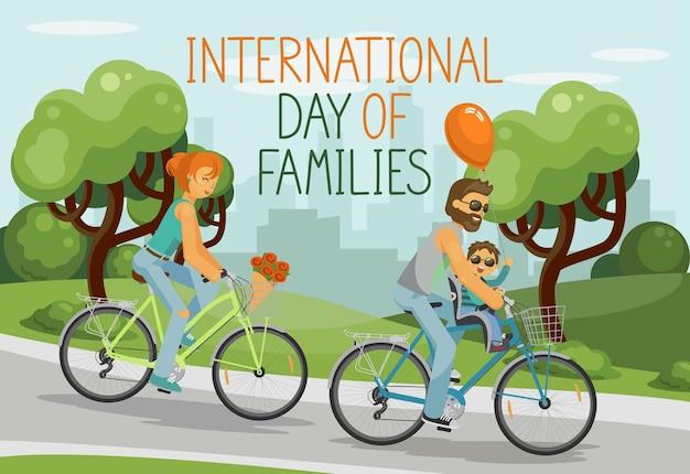 Dia internacional das famílias com pais e criança passeando ao ar livre no parque da cidade