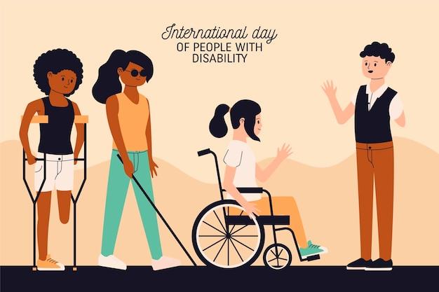 Dia internacional das pessoas com deficiência desenhada à mão