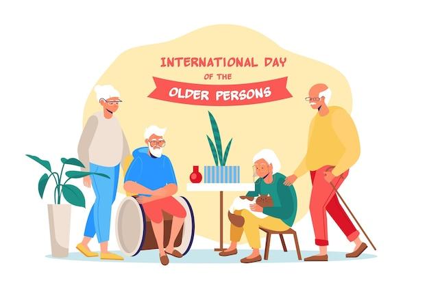 Dia internacional das pessoas idosas com fundo colorido