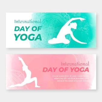 Dia internacional de banners de ioga
