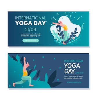 Dia internacional de banners horizontais de ioga