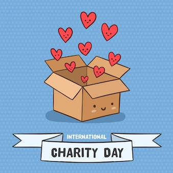 Dia internacional de caridade com caixa de corações