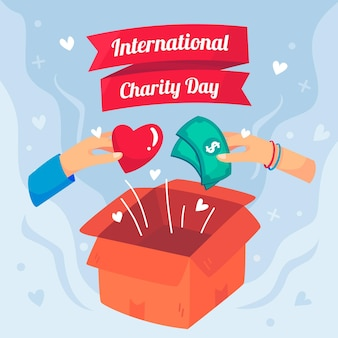 Dia internacional de caridade com caixa e dinheiro