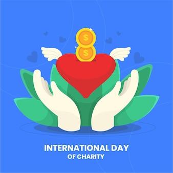 Dia internacional de caridade com coração e mãos
