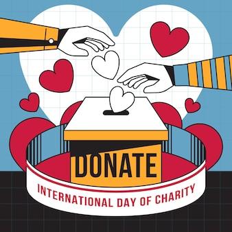 Dia internacional de caridade com corações