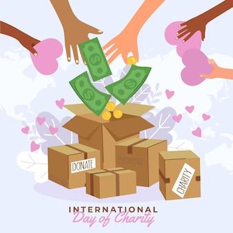 Dia internacional de caridade com dinheiro e caixas