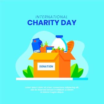 Dia internacional de caridade com doações