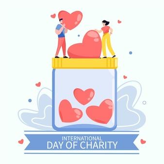 Dia internacional de caridade com pessoas e corações