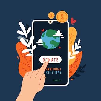 Dia internacional de caridade com smartphone