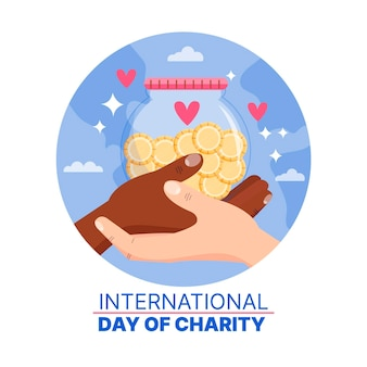Dia internacional de caridade desenhada de mão