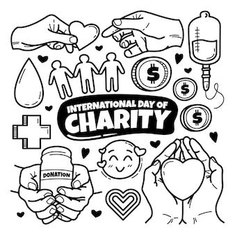 Dia internacional de caridade desenhado à mão