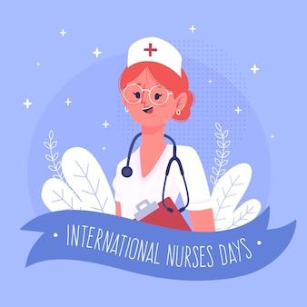 Dia internacional de enfermeiras com estetoscópio de mulher