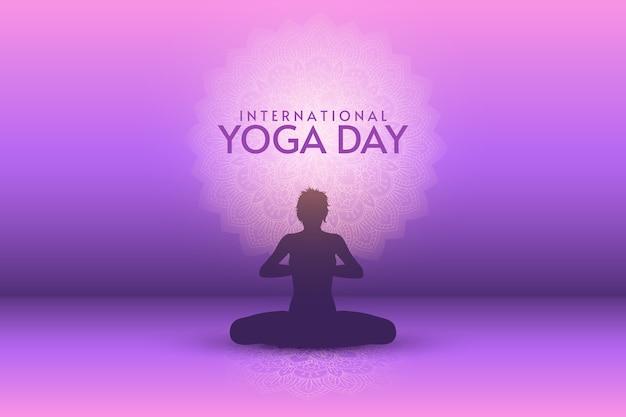 Dia internacional de gradiente de ilustração de ioga