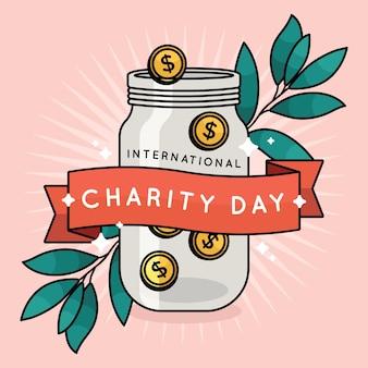 Dia internacional de mão desenhada de ilustração de caridade