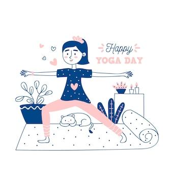 Dia internacional de mão desenhada de ilustração de ioga