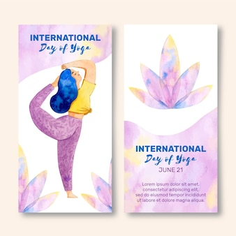 Dia internacional de mão desenhada do banner de ioga