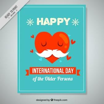 Dia internacional de pessoas mais idosas cartão bonito do coração com bigode