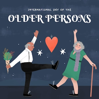 Dia internacional desenhado à mão de pessoas mais velhas